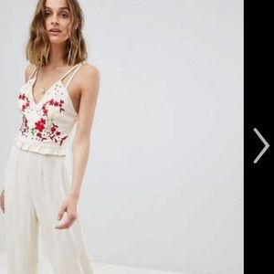 Hope & Ivy embroidered cream jumpsuit - NWT